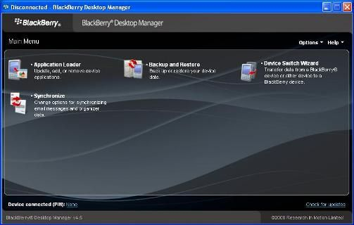 BlackBerry Desktop Manager - Backup/ Restore your phone easily