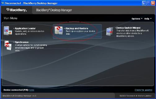 How to Backup your Blackberry with BlackBerry Desktop Manager 7
