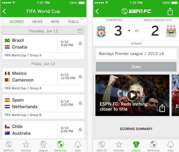 4 Free Apps For World Cup Brazil 2014 (Android & iOS)