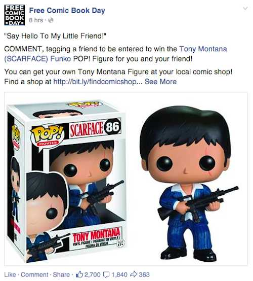 Free Comic Book Day's contest to win a Tony Montana toy