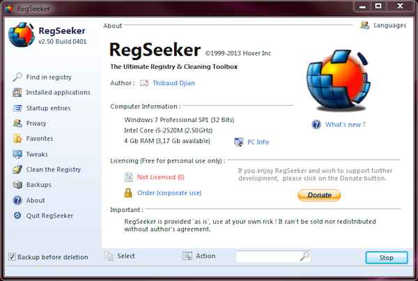 RegSeeker-free registry Cleaner