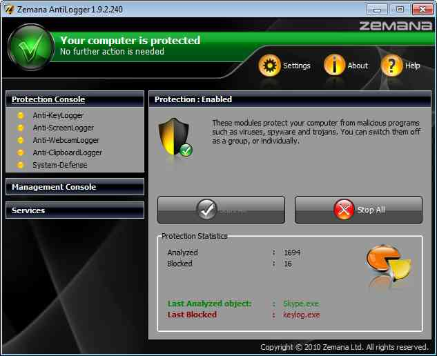 Giveaway for license key of Zemana AntiLogger