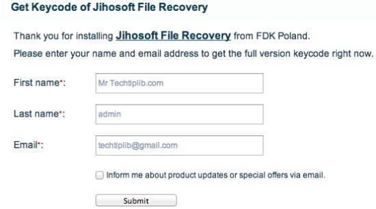 jihosoft file recovery registration key free
