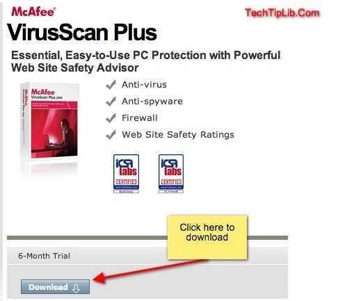 free McAfee VirusScan Plus