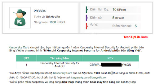 Get license key 1 year of Kaspersky Mobile Security for Android