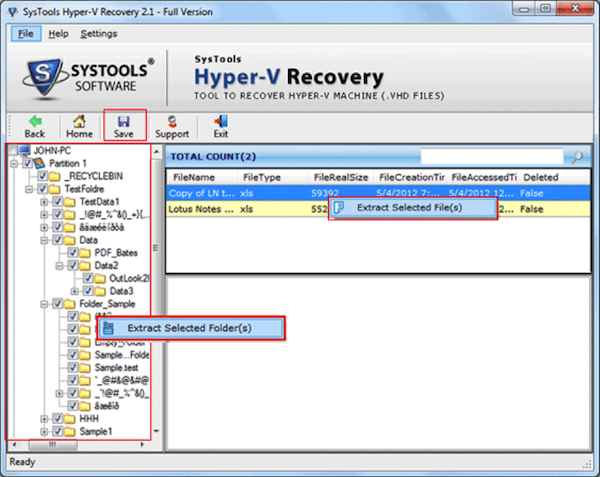 Hyper-V recovery software save