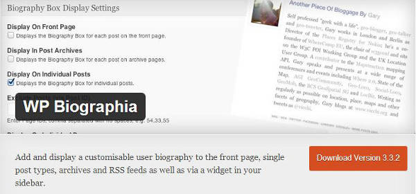 author box WordPress plug-ins WP Biographia