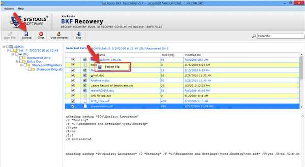 Recovery Software extract files