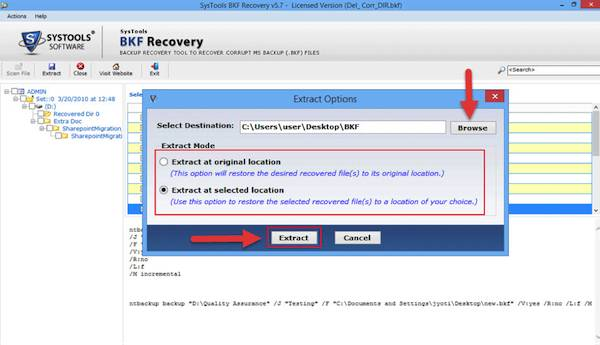 Recovery Software extract options