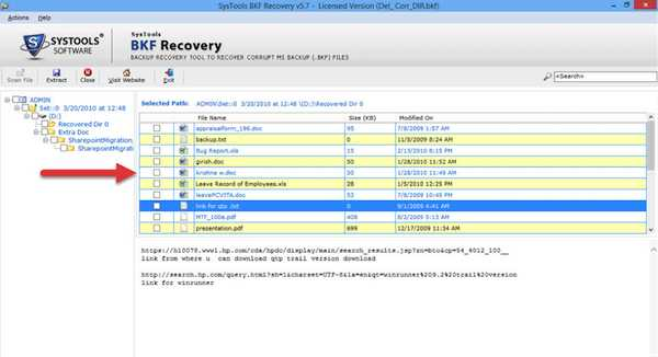 Recovery Software select file