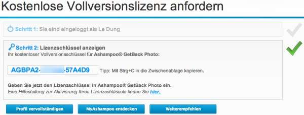 Ashampoo GetBack Photo key