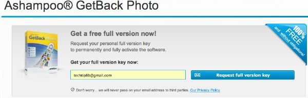 Ashampoo GetBack Photo register