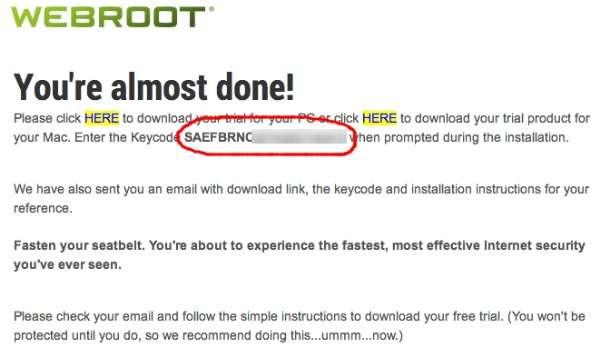 Webroot SecureAnywhere AntiVirus get key