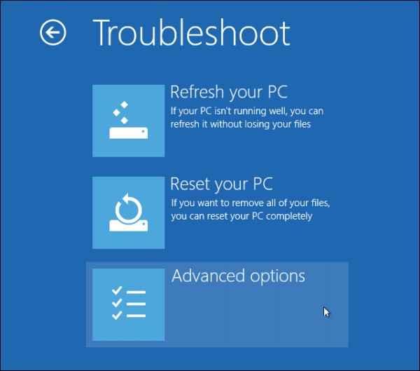 windows 8 safe mode Advanced options