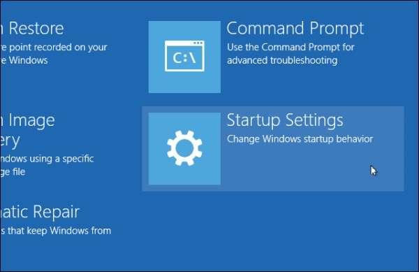 windows 8 safe mode Startup Settings