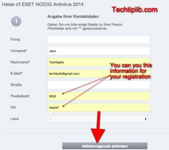 ESET NOD32 Antivirus form