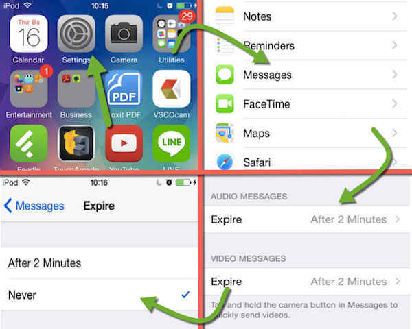 save audio iOS message
