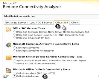 office 365 outlook autodiscover