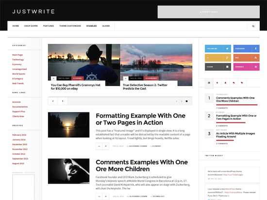 JustWrite-free wordpress theme 2014