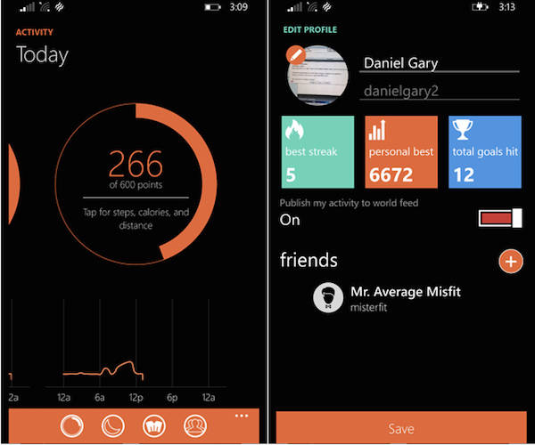 Misfit app windows phone