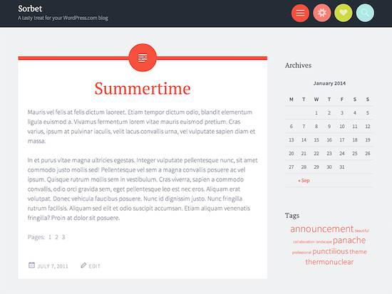 Sorbet-free wordpress theme 2014